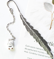 Cat Feather Bookmark Metal White Cat Lover Gift Silver Book Page Marker New UK