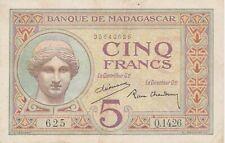 BANQUE DE MADAGASCAR 5 Francs ND(1937) XF