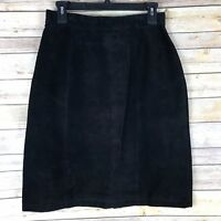 Unbranded Vintage Womens Skirt Suede Leather High Waist Pencil 1980s Black 10
