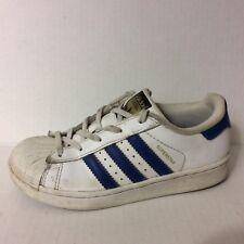 Adidas Original BA8383 Boys 13.5 Youth Superstar White Blue Leather Sneaker Shoe