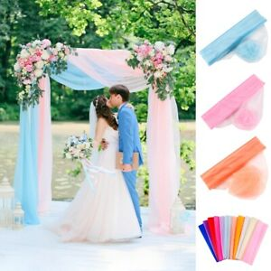 10M Sheer Organza Tulle Fabric Wedding Party Decor Table Runner Chair Sash Bows