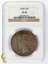 1934-S Silver Peace Dollar $1 NGC Graded XF 45