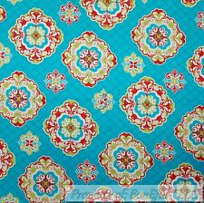BonEful Fabric FQ Cotton Quilt Aqua Blue Red Gold Teal Damask Medallion Stripe L