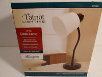 "New Desk Lamp Adjustable Gooseneck 14"" Tall Lighting White Shade Black base"