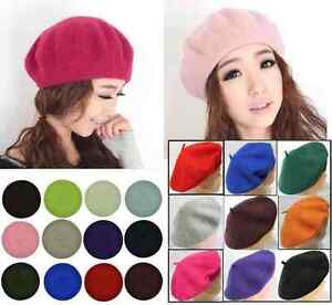French Style Vintage Warm Plain  Beanie Beret Hat made of 100%  Quality Wool