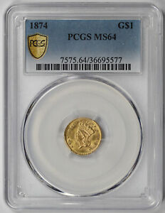 1874 Indian Princess Large Head Gold Dollar $1 MS 64 PCGS Secure Shield