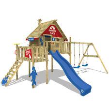 WICKEY Spielturm Stelzenhaus Smart Resort m. Schaukel, Rutsche + roter Dachplane