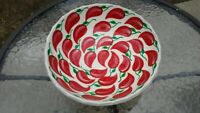 Vtg 1960s Hand Painted Large Footed Ceramic Hot Chili Peppers Bowl Serving Decor
