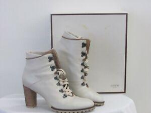 Coach Lucia Waxy Claf Wntrwt/DOE Combat High Heeled Boot Size 8.5