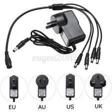 4 Split Cable Cord + DC 12V 1A Power Supply Adapter For CCTV Security   T