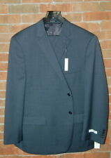 NWT 52 R Pronto Uomo Navy Blue Pin Dot Wool Suit Modern Fit Flat Front Pant