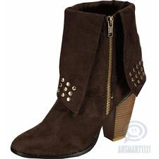 Womens Ankle High Boots Brown Round Toe Studded Fashion Booties Heels AU Size