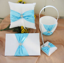 White Wedding Guest Book Ring Pillow Flower Basket Turquoise Cyan Blue Sach Bow