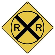 "Railroad Crossing Metal Sign 16 1/2"" x 16 1/2"" Diamond shape made in USA #408"