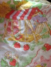 Vintage Strawberry Shortcake Bed Sheet Twin Fitted *Elastic Worn* 1970s Bright