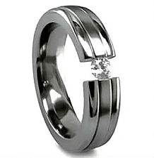 TITANIUM High Polished TENSION RING with Round CZ - size 11