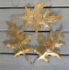Vintage 1980's Set of 3 Metal Bronze Tone Oak Leaves Candle Holding Scones