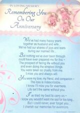 Graveside Memorial Card -  Husband Wife Anniversary - FREE 1ST CLASS POSTAGE