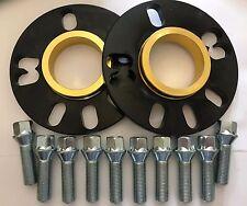 2 X 10mm BIMECC BLACK HUB SPACERS +10 X M14X1.5 SILVER BOLTS FIT AUDI 5X100 57.1