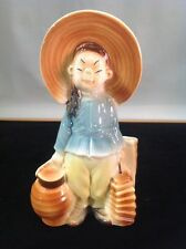 Vintage Porcelain Royal Copley Classic Asian Girl Basket & Lantern Planter E-1