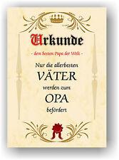 Urkunde Vatertag Geschenk bester Papa Opa Geschenkidee Papi Kunstdruck Bild NEU