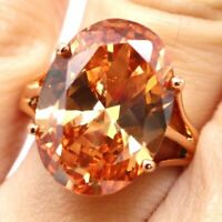 4.5 Ct Oval Orange Citrine Ring Women Wedding Jewelry Gift 14K Rose Gold Plated