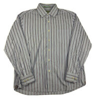 Tommy Bahama Blue Striped Hidden Button Down Long Sleeve 100% Cotton Mens Large