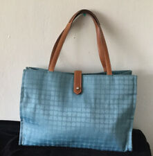 EUC Kate Spade Authentic Womens Large Green Canvas Leather Handbag