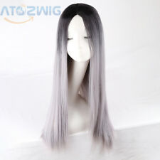 ATOZ Long Straight Hair Two Tone Black and Grey Ombre Wig Heat Resistant US