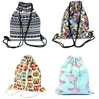 Drawstring Storage Bag Portable Shoulder Bags Women Canvas Shoe Travel Backpack