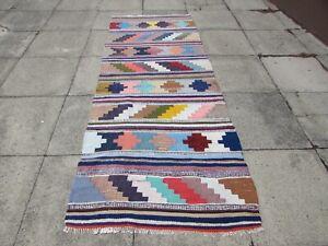 Vintage Traditional Hand Made Oriental Cotton Wool Blue kilim Runner 270x108cm