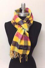 New 100% CASHMERE SCARF Scotland SOFT Square Check Plaid Yellow/Purple/pink/Jade