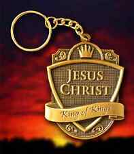 Jesus Christ Keychain - Antique Brass Emblem - Keyring - Fob - God - Christian
