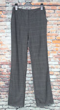 HOBBS Lee Trousers Grey Windowpane Check Straight Leg 80% Wool Smart Career 6