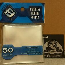 70mm x 70mm SQUARE Board Game CLEAR card Sleeves  Blue Pack FFG FFS65