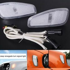 White Front Turn Side Signals Lights Cover For Jeep Renegade Lamp Parts 2015-17