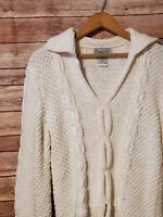 Saks Fifth Avenue Folio Cable Handknit Sweater Womens XL Cotton V Neck White