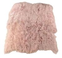 Öko Lammfell Teppich zart rosa 175 x 200 cm Fell-Teppich aus 6 Lammfellen