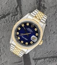 Gents Steel & Gold Rolex Oyster Perpetual Datejust - Blue Vignette Diamond Dial