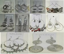 SU-4 Wholesale lot10 pairs Fashion  Big Dangle Silver Plated  Earrings US-SELLER