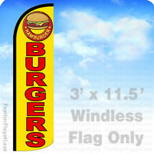 Burgers - Windless Swooper Flag 3x11.5 Feather Banner Sign - yq