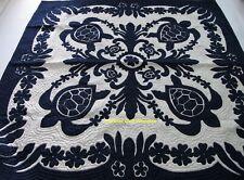 Hawaiian quilt wall hanging handmade 100% hand quilted/appliqued BEDSPREAD NAVY