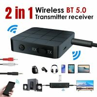 Wireless Bluetooth 5.0 Transmitter & Receiver 3.5mm AUX Audio Home Car Adapter