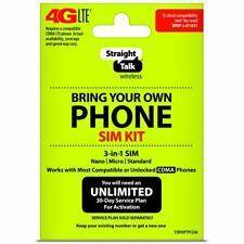 "Straight Talk Verizon Bring Your Own Phone ""CDMA"" 3-in-1 Sim Card Kit 4G LTE"