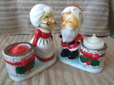 Vintage Little Luvkins Santa Claus & Mrs Claus Kissing Porcelain Candle Holders