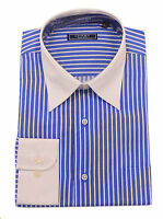 $99 Chams Classic Fit Blue w White Collar Stylish Mens Combed Cotton Dress Shirt