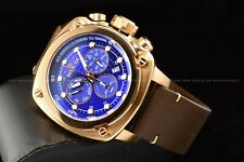 Invicta 54mm Square Aviator Swiss Chronograph Leather Strap Rose Gold Blue Watch