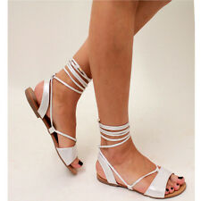 15c27624c96 Womens Ladies Tie up Gladiator Flat Sandals Strappy Summer Metallic Shoes  Size