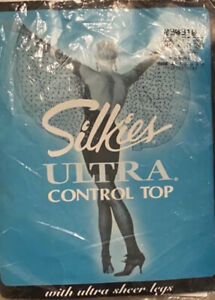 Silkies Vintage Pantyhose Large Misty Gray Control Top Large lot of 2