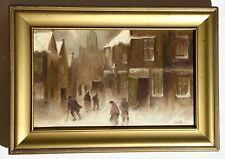 New ListingVintage Oil Painting - Signed: E.B. Thompson - 1909 - Winter City Street - 13�